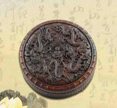 【双龙戏珠】圆形浮雕复古首饰盒