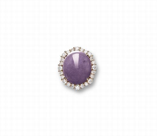 天然紫翡翠配钻石戒指