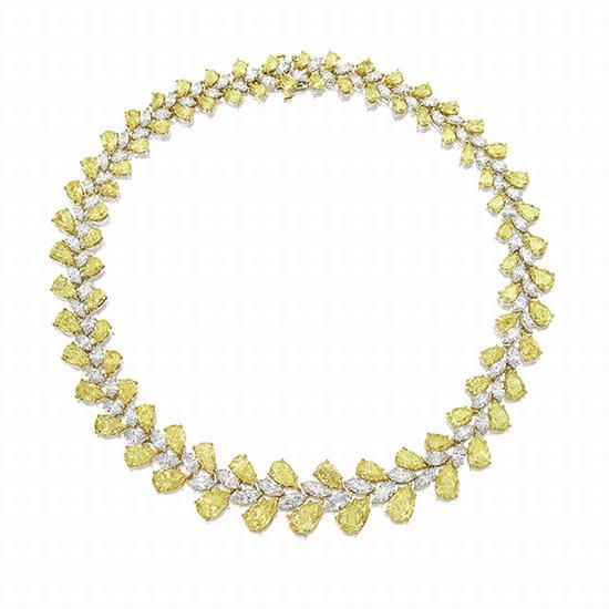 浓彩黄色及彩黄色钻石配钻石项链