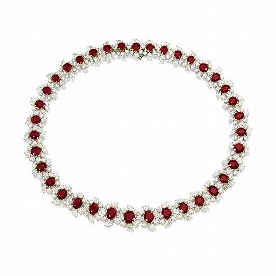 红宝石配钻石项链