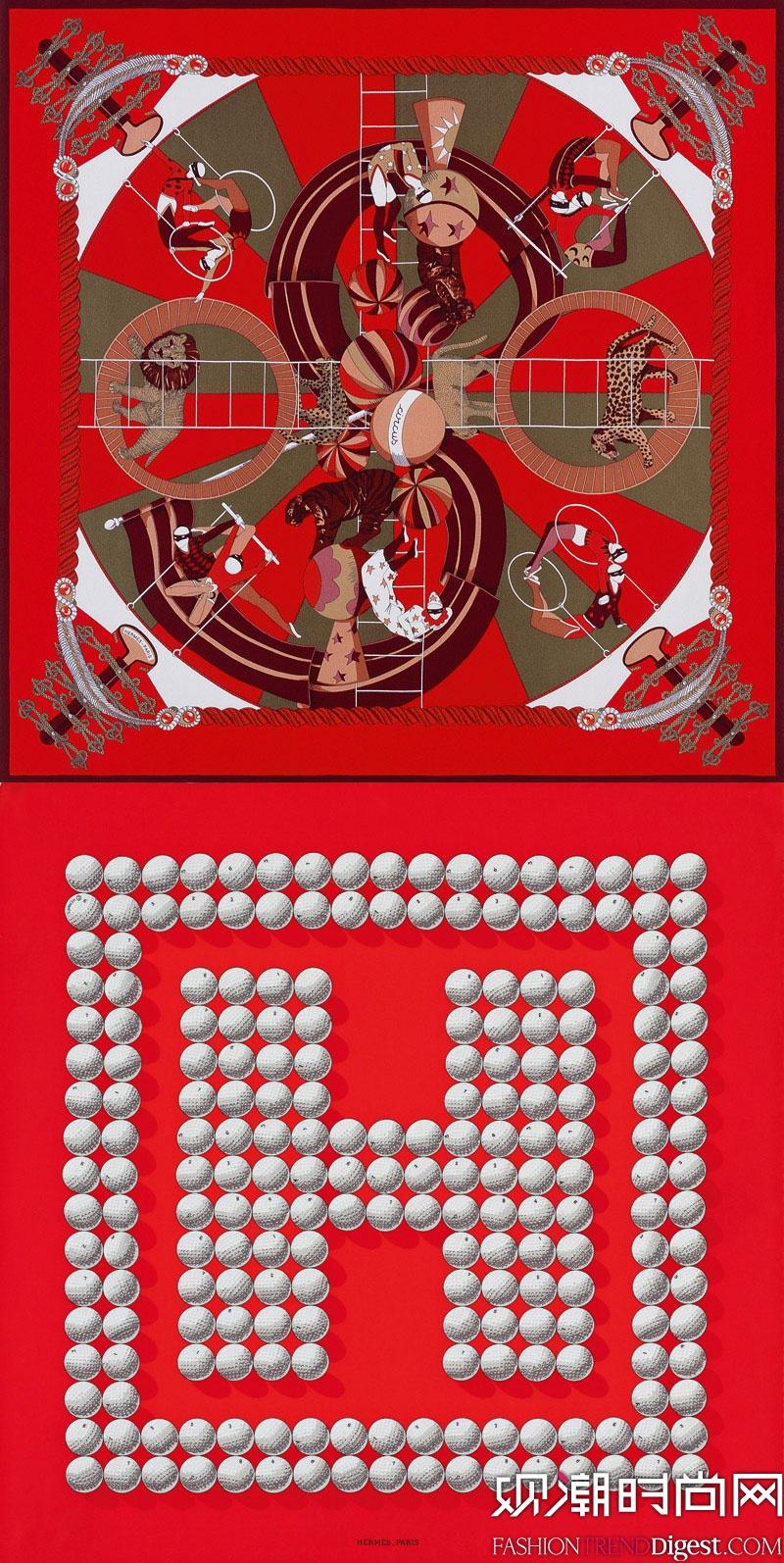 Hermes推出圣诞红色系列丝巾高清图片