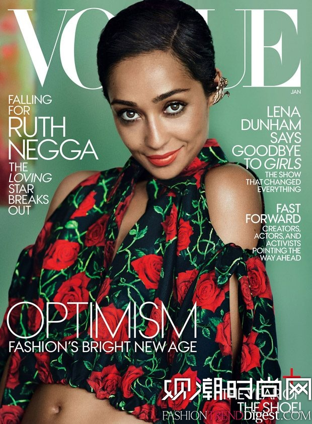 Ruth Negga演绎美国版《vogue》2017年1月杂志封面高清图片
