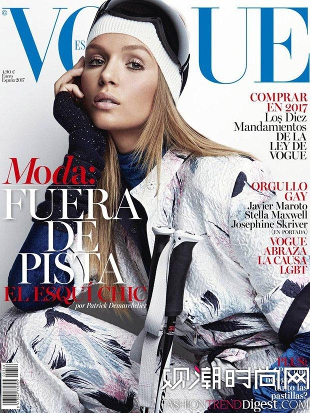 Josephine Skriver 为西班牙版《Vogue》登上2017年1月刊封面高清图片