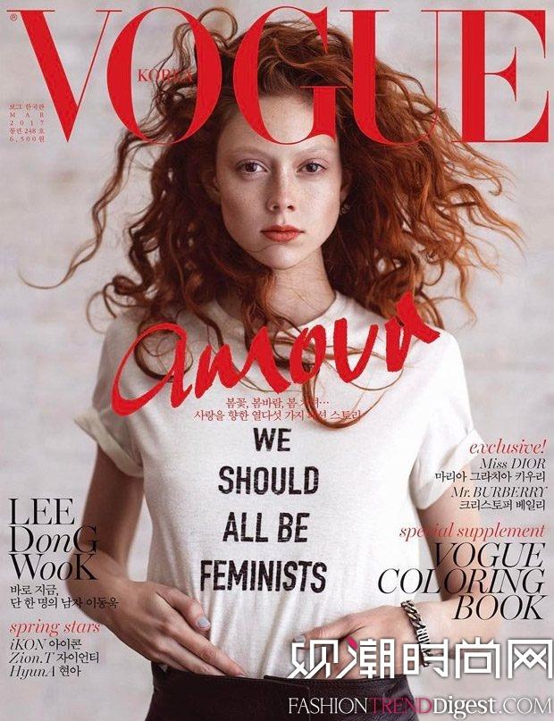 Natalie Westling为Dior演绎广告大片并登上《Vogue》韩国版2017三月刊封面高清图片