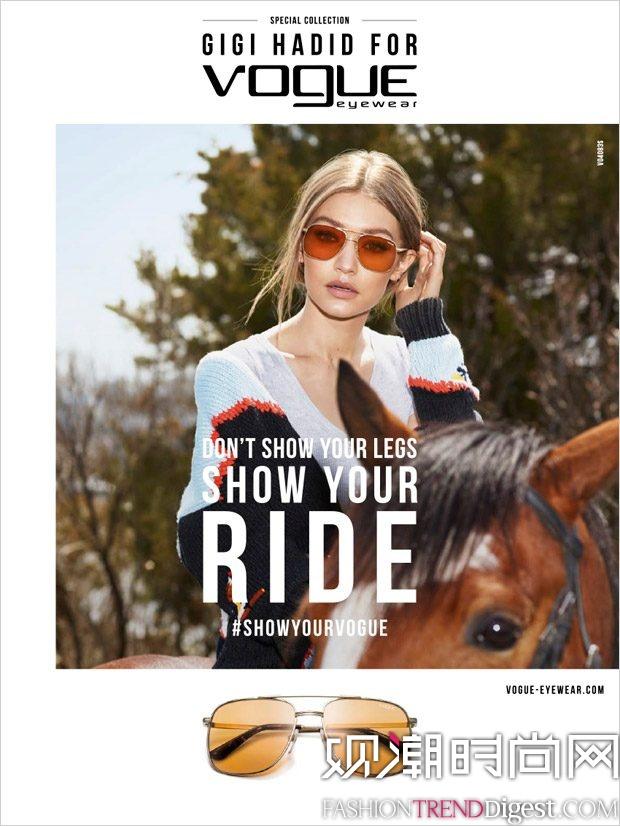 Gigi Hadid为Vogue Eyewear2017.18秋冬系列演绎广告大片高清图片