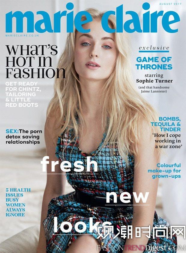 Sophie Turner演绎英国版《Marie Claire》2017年8月杂志封面高清图片