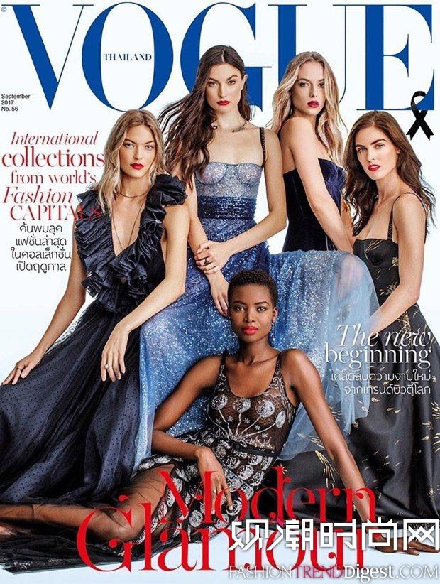 Hannah Ferguson, Hilary Rhoda, Jacquelyn Jablonski, Maria Borges, Martha Hunt演绎泰国版《Vogue》2017年9月杂志封面高清图片
