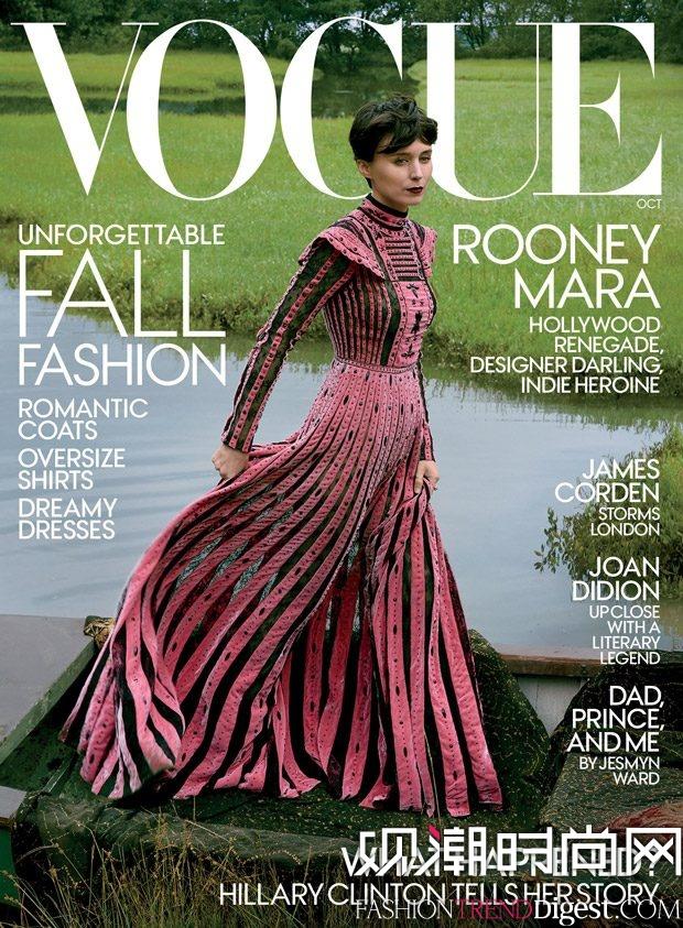 Rooney Mara演绎美国版《vogue》2017年10月杂志封面高清图片