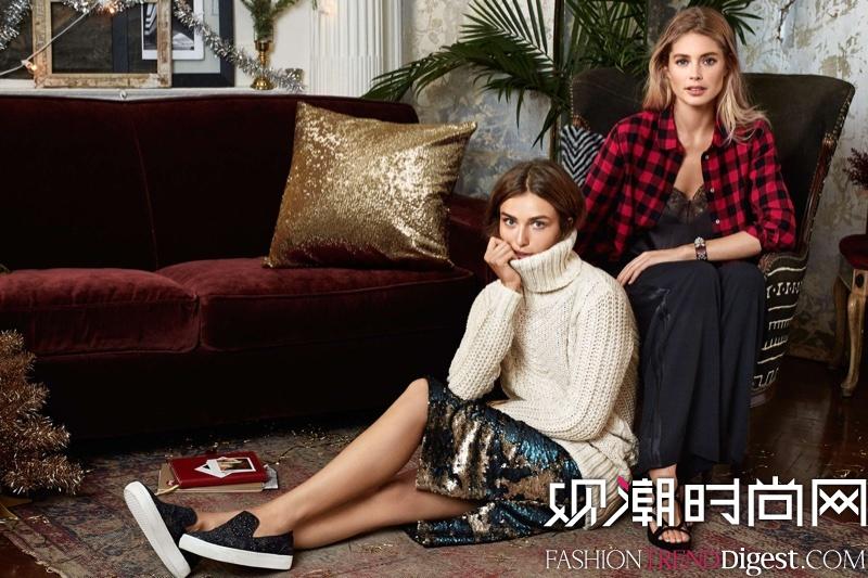 Doutzen Kroes携手Andreea Diaconu演绎H&M holiday女装系列广告大片高清图片