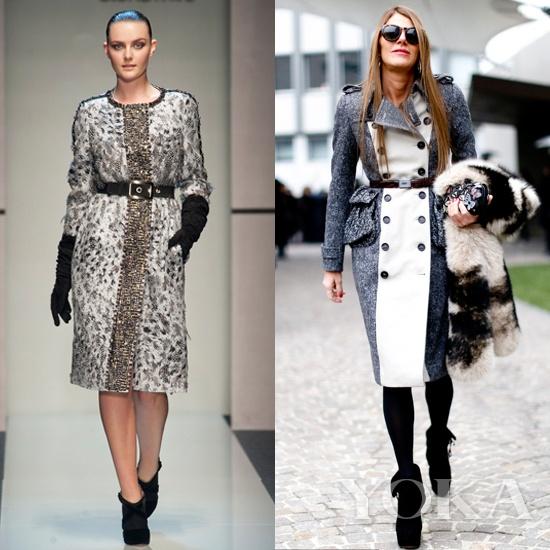 elena miro 束腰款大衣   elena miro这款束腰大衣尽显模特的完美身材