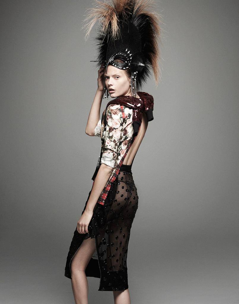 暗黑系服装效果图手绘连衣裙