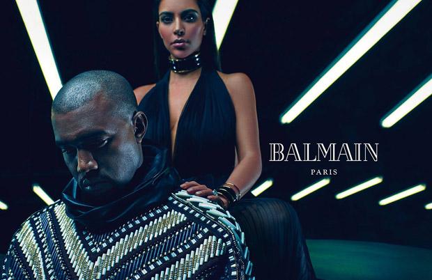 Kanye West及Kim Kardashian联手为Balmain 2015春夏男装系列广告高清图片