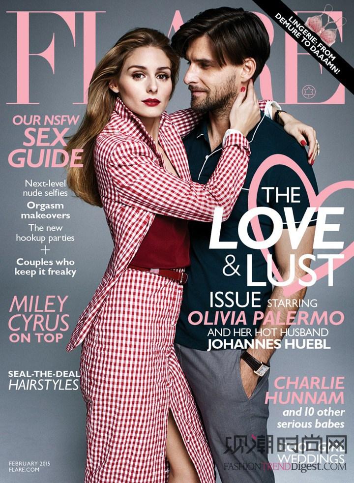 Olivia Palermo 与丈夫共登《FLARE》杂志2015年2月号高清图片