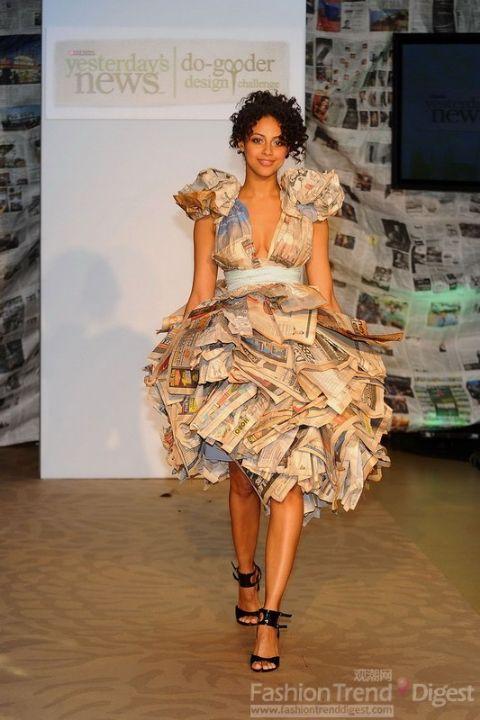 环保呼声 报纸做的服装比赛图片图片