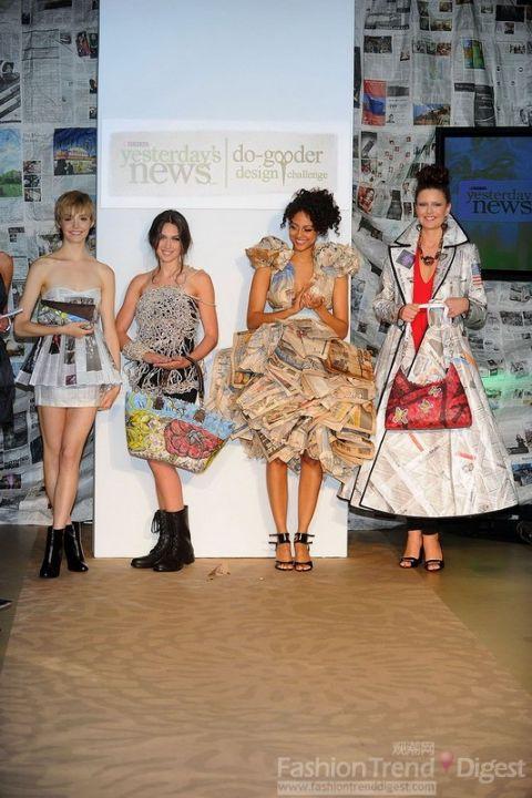 再传环保呼声 报纸制作的服装比赛 图图片