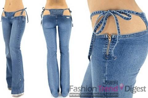 超低腰牛仔裤美女_街拍超低腰牛仔裤女