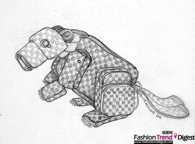 以自然生态中的野生动物为灵感,采用路易威登经典的皮具和饰品,并运用高超的绘画技巧以及结合品牌所有商品信息制成,其中包括栩栩如生的穿山甲、变色龙、响尾蛇、蚱蜢、青蛙等动物和昆虫造型。这些动物,没有经过过分裁剪,而是尽可能地活用了包具的原始形状,每一种都无所不用其极。 Billie Achilleos 2007年毕业于伦敦艺术大学温布尔登艺术学院。她的工作包括制作电影与剧院使用的木偶与小道具,还负责酒店与餐厅的橱窗展示设计。自2010年起,Billie Achilleos便开始与路易威登合作,在伦敦以及纽