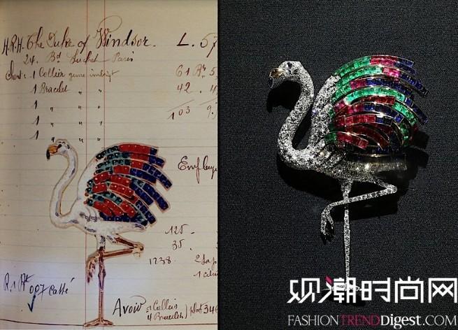 火烈鸟胸针与设计草图