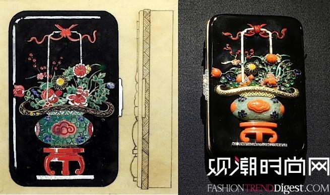 中国花篮装饰化妆盒与设计草图