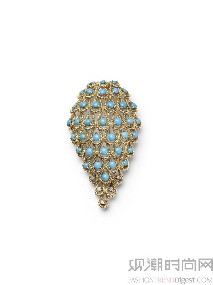 金螺旋结构,镶嵌明亮式切割钻石与凸圆形绿松石.