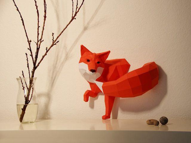 艺术家用纸片设计出可爱的3d几何动物