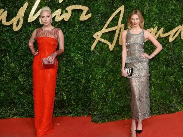 英国时尚大奖,Gaga红裙,贝嫂一身黑
