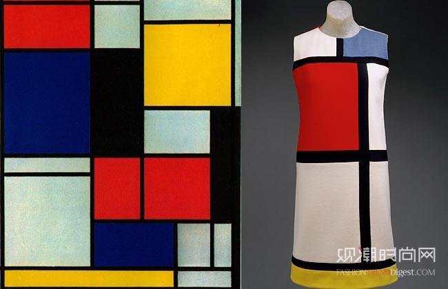 Mondrian的作品《线与色彩的构成》与Yves Saint Laurent的蒙德里安裙
