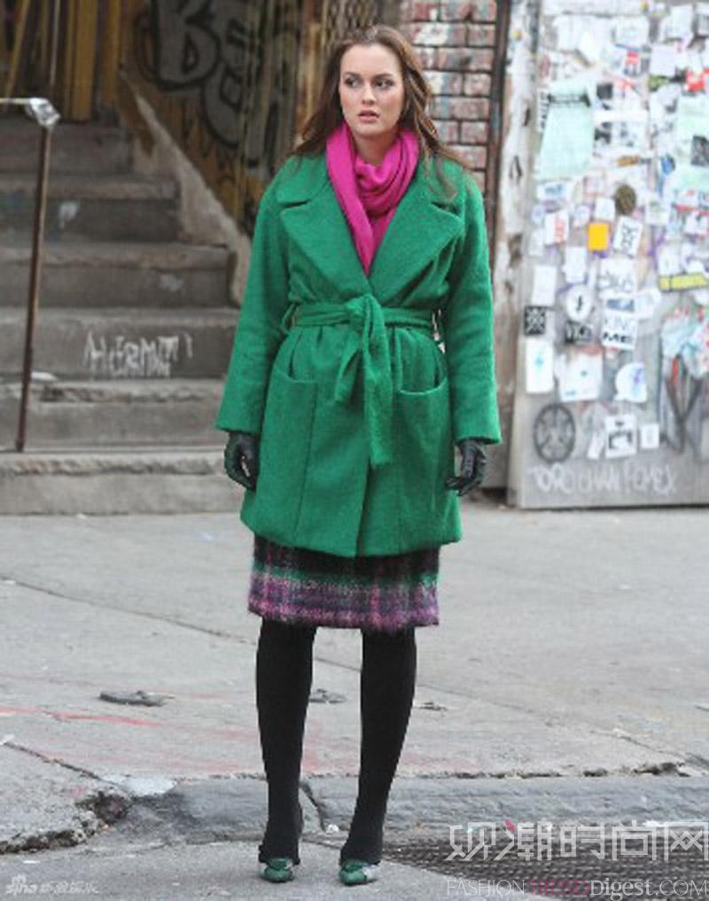 穿绿色一扫沉闷,冬天也要够出彩