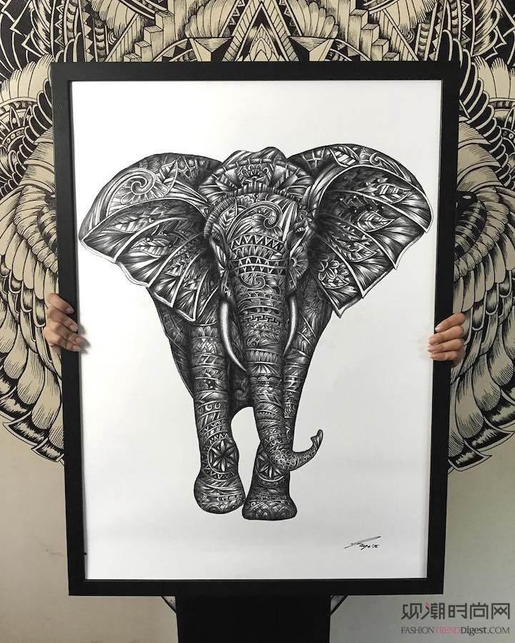 来自极细樱花勾线笔的雄伟动物手绘插图