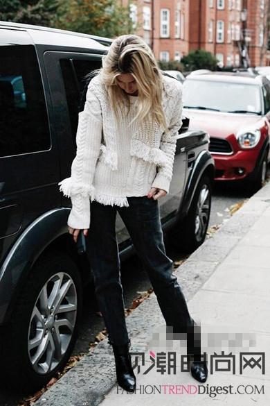 白色毛衫简直是冬季里的一股清流!