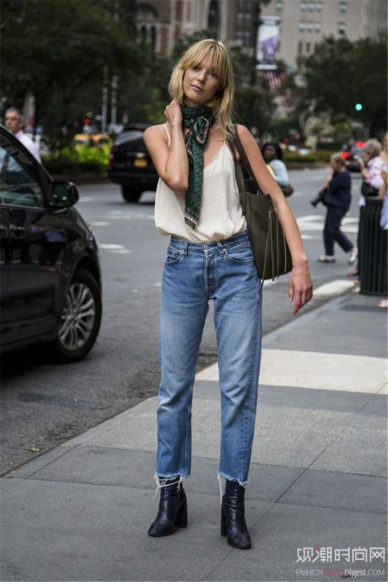 原来高腰裤才是超显高的时髦利器