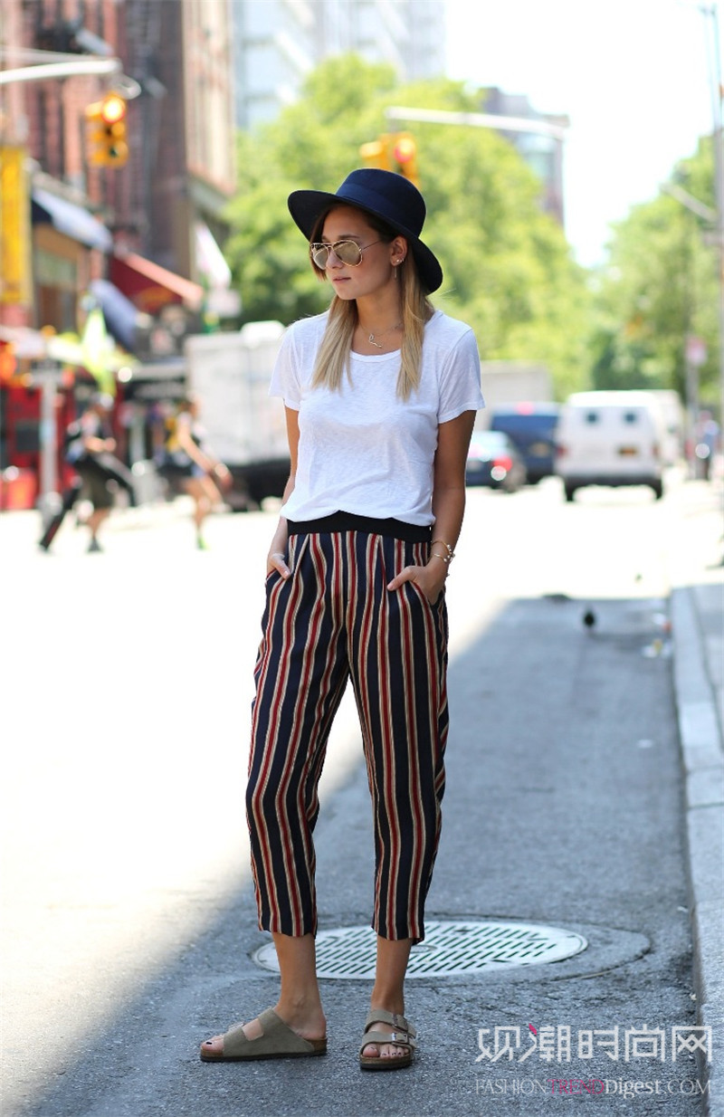 显瘦有型的条纹裤,演绎简约经典