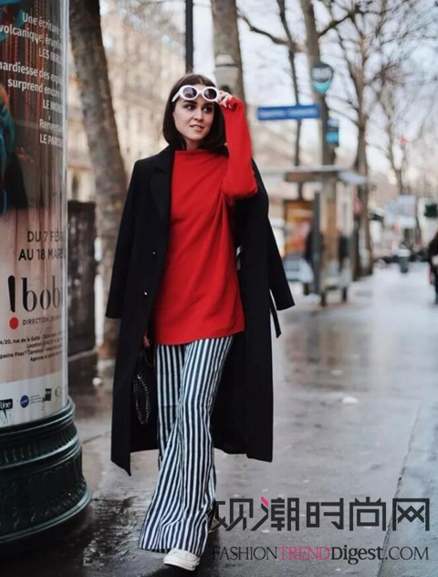 喜庆红穿起来!时尚小花们最新街拍