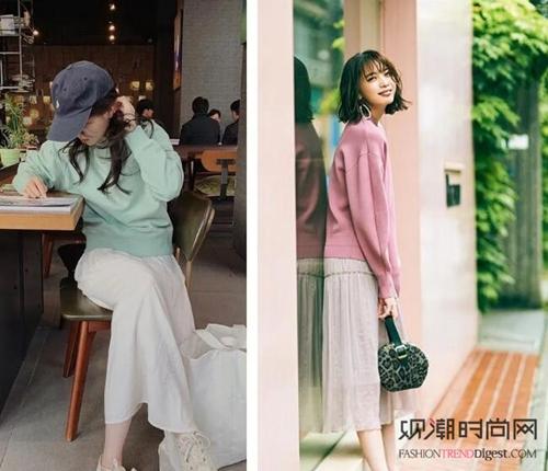 春暖花开,毛衣+半身裙的外穿搭配