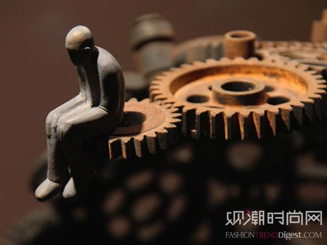 齿轮创意雕塑手绘线稿