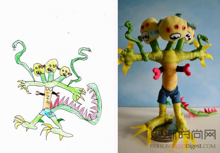 艺术家将儿童绘画转换成可爱的毛绒玩具