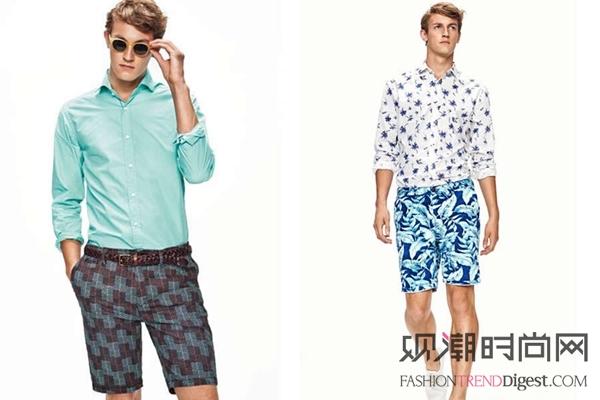 ...天蓝色衬衫与低亮度的格子短裤相搭蓝色更加突出以提高吸睛...