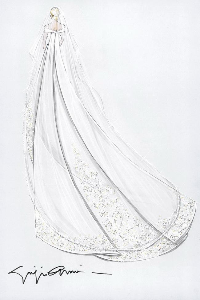 拖地婚纱铅笔手绘