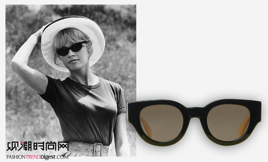 造型 墨镜/法国女演员碧姬·芭铎佩戴Céline墨镜,自信且休闲。...